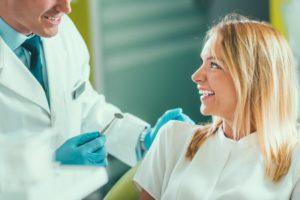 patient talking to dentist